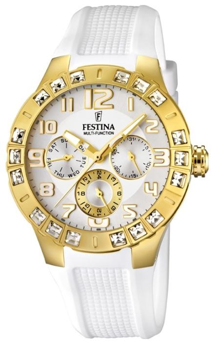 Festina F16581.1 - женские наручные часы из коллекции Golden DreamFestina<br><br><br>Бренд: Festina<br>Модель: Festina F16581/1<br>Артикул: F16581.1<br>Вариант артикула: None<br>Коллекция: Golden Dream<br>Подколлекция: None<br>Страна: Испания<br>Пол: женские<br>Тип механизма: кварцевые<br>Механизм: None<br>Количество камней: None<br>Автоподзавод: None<br>Источник энергии: от батарейки<br>Срок службы элемента питания: None<br>Дисплей: стрелки<br>Цифры: арабские<br>Водозащита: WR 50<br>Противоударные: None<br>Материал корпуса: нерж. сталь, PVD покрытие: позолота (полное)<br>Материал браслета: каучук<br>Материал безеля: None<br>Стекло: минеральное<br>Антибликовое покрытие: None<br>Цвет корпуса: None<br>Цвет браслета: None<br>Цвет циферблата: None<br>Цвет безеля: None<br>Размеры: 42x11.5 мм<br>Диаметр: None<br>Диаметр корпуса: None<br>Толщина: None<br>Ширина ремешка: None<br>Вес: 82 г<br>Спорт-функции: None<br>Подсветка: стрелок<br>Вставка: циркон<br>Отображение даты: число, день недели<br>Хронограф: None<br>Таймер: None<br>Термометр: None<br>Хронометр: None<br>GPS: None<br>Радиосинхронизация: None<br>Барометр: None<br>Скелетон: None<br>Дополнительная информация: None<br>Дополнительные функции: None