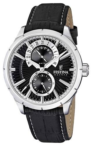 Festina F16573.3 - мужские наручные часы из коллекции RetroFestina<br><br><br>Бренд: Festina<br>Модель: Festina F16573/3<br>Артикул: F16573.3<br>Вариант артикула: None<br>Коллекция: Retro<br>Подколлекция: None<br>Страна: Испания<br>Пол: мужские<br>Тип механизма: кварцевые<br>Механизм: None<br>Количество камней: None<br>Автоподзавод: None<br>Источник энергии: от батарейки<br>Срок службы элемента питания: None<br>Дисплей: стрелки<br>Цифры: отсутствуют<br>Водозащита: WR 50<br>Противоударные: None<br>Материал корпуса: нерж. сталь<br>Материал браслета: кожа (не указан)<br>Материал безеля: None<br>Стекло: минеральное<br>Антибликовое покрытие: None<br>Цвет корпуса: None<br>Цвет браслета: None<br>Цвет циферблата: None<br>Цвет безеля: None<br>Размеры: 46x5 мм<br>Диаметр: None<br>Диаметр корпуса: None<br>Толщина: None<br>Ширина ремешка: None<br>Вес: None<br>Спорт-функции: None<br>Подсветка: стрелок<br>Вставка: None<br>Отображение даты: число<br>Хронограф: None<br>Таймер: None<br>Термометр: None<br>Хронометр: None<br>GPS: None<br>Радиосинхронизация: None<br>Барометр: None<br>Скелетон: None<br>Дополнительная информация: None<br>Дополнительные функции: второй часовой пояс