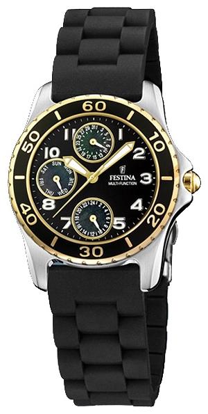 Festina F16201.A - женские наручные часы из коллекции MultifunctionFestina<br><br><br>Бренд: Festina<br>Модель: Festina F16201/A<br>Артикул: F16201.A<br>Вариант артикула: None<br>Коллекция: Multifunction<br>Подколлекция: None<br>Страна: Испания<br>Пол: женские<br>Тип механизма: кварцевые<br>Механизм: Miyota 6P27<br>Количество камней: None<br>Автоподзавод: None<br>Источник энергии: от батарейки<br>Срок службы элемента питания: None<br>Дисплей: стрелки<br>Цифры: арабские<br>Водозащита: WR 100<br>Противоударные: None<br>Материал корпуса: нерж. сталь, PVD покрытие (частичное)<br>Материал браслета: каучук<br>Материал безеля: None<br>Стекло: минеральное<br>Антибликовое покрытие: None<br>Цвет корпуса: None<br>Цвет браслета: None<br>Цвет циферблата: None<br>Цвет безеля: None<br>Размеры: 35x35x10 мм<br>Диаметр: None<br>Диаметр корпуса: None<br>Толщина: None<br>Ширина ремешка: None<br>Вес: None<br>Спорт-функции: None<br>Подсветка: стрелок<br>Вставка: None<br>Отображение даты: число, день недели<br>Хронограф: None<br>Таймер: None<br>Термометр: None<br>Хронометр: None<br>GPS: None<br>Радиосинхронизация: None<br>Барометр: None<br>Скелетон: None<br>Дополнительная информация: элемент питания SR621SW, срок службы батарейки 2 года<br>Дополнительные функции: None
