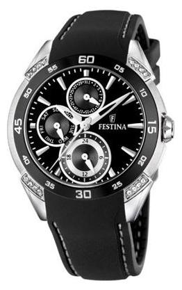 Festina F16394.2 - женские наручные часы из коллекции MultifunctionFestina<br><br><br>Бренд: Festina<br>Модель: Festina F16394/2<br>Артикул: F16394.2<br>Вариант артикула: None<br>Коллекция: Multifunction<br>Подколлекция: None<br>Страна: Испания<br>Пол: женские<br>Тип механизма: кварцевые<br>Механизм: None<br>Количество камней: None<br>Автоподзавод: None<br>Источник энергии: от батарейки<br>Срок службы элемента питания: None<br>Дисплей: стрелки<br>Цифры: отсутствуют<br>Водозащита: WR 30<br>Противоударные: None<br>Материал корпуса: нерж. сталь<br>Материал браслета: каучук<br>Материал безеля: None<br>Стекло: минеральное<br>Антибликовое покрытие: None<br>Цвет корпуса: None<br>Цвет браслета: None<br>Цвет циферблата: None<br>Цвет безеля: None<br>Размеры: None<br>Диаметр: None<br>Диаметр корпуса: None<br>Толщина: None<br>Ширина ремешка: None<br>Вес: None<br>Спорт-функции: None<br>Подсветка: None<br>Вставка: кристаллы Swarovski<br>Отображение даты: число, день недели<br>Хронограф: None<br>Таймер: None<br>Термометр: None<br>Хронометр: None<br>GPS: None<br>Радиосинхронизация: None<br>Барометр: None<br>Скелетон: None<br>Дополнительная информация: None<br>Дополнительные функции: второй часовой пояс
