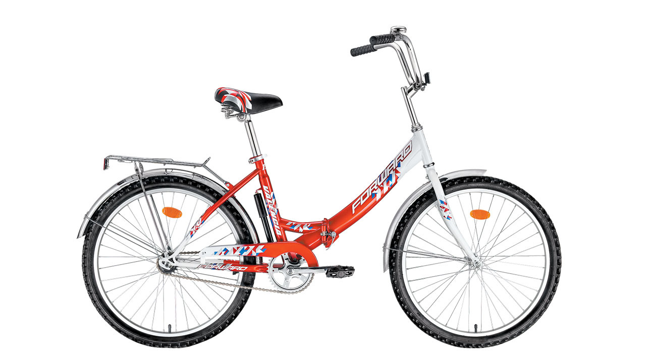 Forward Valencia 1.0 (2015)Городские<br>Велосипед FORWARD VALENCIA 1.0 (2015) наиболее хорошо подходят на рост от 140 до 180 сантиметров. Колёса диаметром в 24 дюйма обеспечат высокий комфорт и проходимость велосипеда при катании. На велосипед установлен багажник, который поможет в перевозке небольших грузов. Прочные металлические крылья защитят вас от воды и грязи в плохую погоду.<br>Важным свойством этого велосипеда является его складываемость, за счёт прочного механизма складывания на раме. В сложенном состоянии велосипед гораздо удобнее хранить и транспортировать к месту планируемой велопрогулки. Не смотря на отсутствие подвески, велосипед будет достаточно комфортен при катании по лесным тропинкам и паркам.<br>Велосипед комплектуется небольшим насосом, с помощью которого можно подкачать колеса.<br>