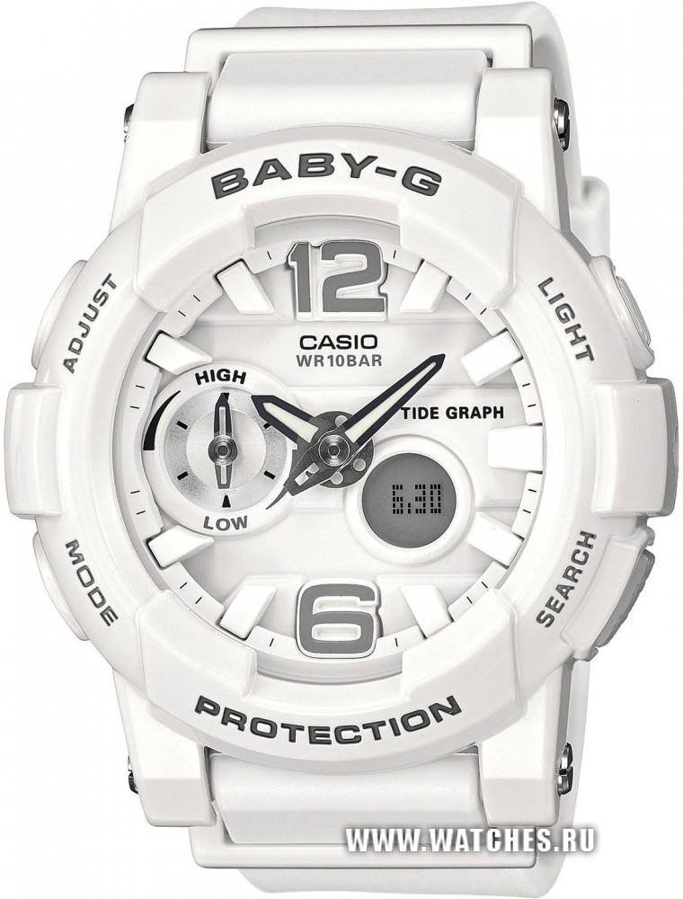 Casio Baby-G BGA-180-7B1 / BGA-180-7B1ER - женские наручные часыCasio<br><br><br>Бренд: Casio<br>Модель: Casio BGA-180-7B1<br>Артикул: BGA-180-7B1<br>Вариант артикула: BGA-180-7B1ER<br>Коллекция: Baby-G<br>Подколлекция: None<br>Страна: Япония<br>Пол: женские<br>Тип механизма: кварцевые<br>Механизм: None<br>Количество камней: None<br>Автоподзавод: None<br>Источник энергии: от батарейки<br>Срок службы элемента питания: None<br>Дисплей: стрелки + цифры<br>Цифры: арабские<br>Водозащита: WR 100<br>Противоударные: есть<br>Материал корпуса: пластик<br>Материал браслета: пластик<br>Материал безеля: None<br>Стекло: минеральное<br>Антибликовое покрытие: None<br>Цвет корпуса: None<br>Цвет браслета: None<br>Цвет циферблата: None<br>Цвет безеля: None<br>Размеры: 44x49.3x15.4 мм<br>Диаметр: None<br>Диаметр корпуса: None<br>Толщина: None<br>Ширина ремешка: None<br>Вес: 46 г<br>Спорт-функции: секундомер, таймер обратного отсчета, термометр<br>Подсветка: дисплея, стрелок<br>Вставка: None<br>Отображение даты: вечный календарь, число, месяц, день недели<br>Хронограф: None<br>Таймер: None<br>Термометр: None<br>Хронометр: None<br>GPS: None<br>Радиосинхронизация: None<br>Барометр: None<br>Скелетон: None<br>Дополнительная информация: ежечасный сигнал, отображение сведений о приливах и отливах, функция включения/отключения звука кнопок, элемент питания SR726W x 2, срок службы батареек 2 года<br>Дополнительные функции: второй часовой пояс, указатель фаз луны, будильник