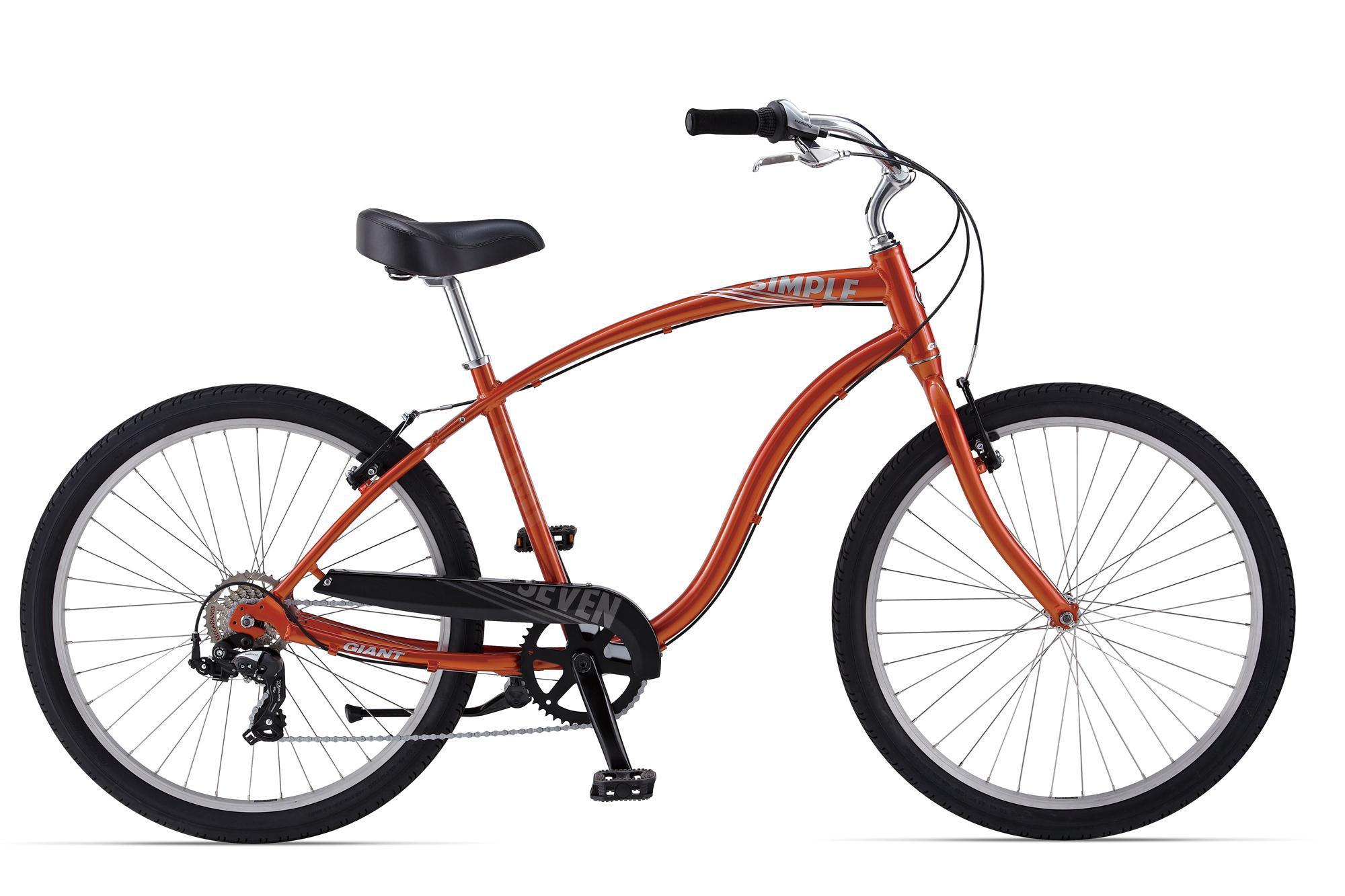 Giant Simple Seven (2014)Городские<br>Для ценителей стильных, красивых и немного ретро велосипедов. Городские велосипеды Simple созданы для спокойной, размеренной езды. Широкие покрышки, мягкое и удобное седло, неповторимой формы руль, удобная посадка - всё это делает езду на велосипеде максимально комфортной. Ничего лишнего, только педали, руль и колеса. Ретро круизеры Giant Simple созданы удивлять, восхищаться и приносить непередаваемые эмоции, как владельцу, так и проходящим мимо завистникам. Редко встретишь такое удачное соотношение дизайна и технической составляющей велосипеда. У городского велосипеда Giant Simple Seven все как в обычном велосипеде: 7 скоростей, ручные тормоза V-brake, подножка, но выполнено в неповторимом дизайнерском решении - круизер. Оптимальный выбор скорости, мягкое удобное седло, прямая посадка - все это даёт комфорт во время движения.<br>