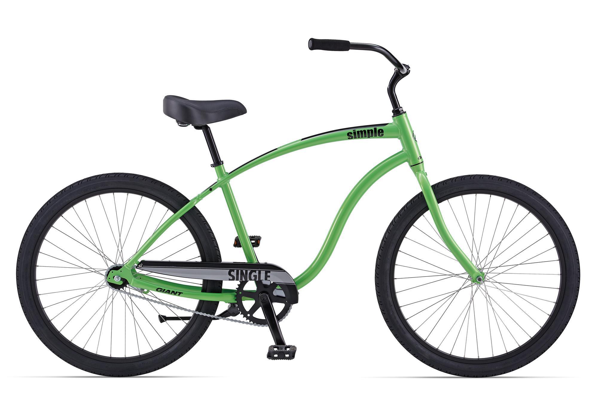 Giant Simple Single (2014)Городские<br>Для ценителей стильных, красивых и немного ретро велосипедов. Велосипеды этой серии созданы для спокойной, размеренной езды. Широкие покрышки, мягкое и удобное седло, неповторимой формы руль, удобная посадка - всё это делает езду на велосипеде максимально комфортной. Ничего лишнего, только педали, руль и колеса. Ретро круизеры созданы удивлять, восхищаться и приносить непередаваемые эмоции, как владельцу, так и проходящим мимо завистникам. Дизайн легких алюминиевых круизеров Giant Simple Single напоминает мотоцикл Harley из американских фильмов. Этот пляжный велосипед комплектуется широкими сликовыми покрышками и большим удобным седлом.<br>