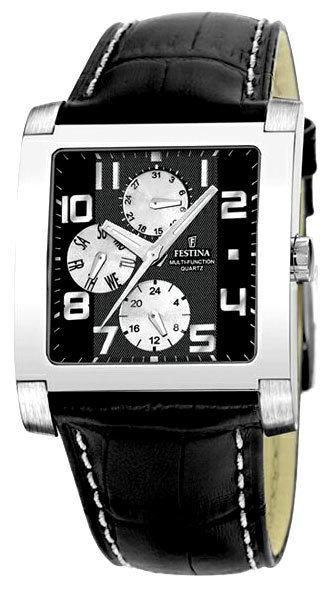 Festina F16235.6 - мужские наручные часы из коллекции MultifunctionFestina<br><br><br>Бренд: Festina<br>Модель: Festina F16235/6<br>Артикул: F16235.6<br>Вариант артикула: None<br>Коллекция: Multifunction<br>Подколлекция: None<br>Страна: Испания<br>Пол: мужские<br>Тип механизма: кварцевые<br>Механизм: None<br>Количество камней: None<br>Автоподзавод: None<br>Источник энергии: None<br>Срок службы элемента питания: None<br>Дисплей: стрелки<br>Цифры: арабские<br>Водозащита: WR 50<br>Противоударные: None<br>Материал корпуса: не указан<br>Материал браслета: кожа<br>Материал безеля: None<br>Стекло: минеральное<br>Антибликовое покрытие: None<br>Цвет корпуса: None<br>Цвет браслета: None<br>Цвет циферблата: None<br>Цвет безеля: None<br>Размеры: 37x37 мм<br>Диаметр: None<br>Диаметр корпуса: None<br>Толщина: None<br>Ширина ремешка: None<br>Вес: None<br>Спорт-функции: None<br>Подсветка: дисплея<br>Вставка: None<br>Отображение даты: день недели<br>Хронограф: None<br>Таймер: None<br>Термометр: None<br>Хронометр: None<br>GPS: None<br>Радиосинхронизация: None<br>Барометр: None<br>Скелетон: None<br>Дополнительная информация: None<br>Дополнительные функции: None