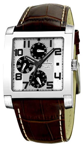 Festina F16235.2 - мужские наручные часы из коллекции MultifunctionFestina<br><br><br>Бренд: Festina<br>Модель: Festina F16235/2<br>Артикул: F16235.2<br>Вариант артикула: None<br>Коллекция: Multifunction<br>Подколлекция: None<br>Страна: Испания<br>Пол: мужские<br>Тип механизма: кварцевые<br>Механизм: None<br>Количество камней: None<br>Автоподзавод: None<br>Источник энергии: None<br>Срок службы элемента питания: None<br>Дисплей: стрелки<br>Цифры: арабские<br>Водозащита: WR 50<br>Противоударные: None<br>Материал корпуса: не указан<br>Материал браслета: кожа<br>Материал безеля: None<br>Стекло: минеральное<br>Антибликовое покрытие: None<br>Цвет корпуса: None<br>Цвет браслета: None<br>Цвет циферблата: None<br>Цвет безеля: None<br>Размеры: 37x37 мм<br>Диаметр: None<br>Диаметр корпуса: None<br>Толщина: None<br>Ширина ремешка: None<br>Вес: None<br>Спорт-функции: None<br>Подсветка: дисплея<br>Вставка: None<br>Отображение даты: день недели<br>Хронограф: None<br>Таймер: None<br>Термометр: None<br>Хронометр: None<br>GPS: None<br>Радиосинхронизация: None<br>Барометр: None<br>Скелетон: None<br>Дополнительная информация: None<br>Дополнительные функции: None
