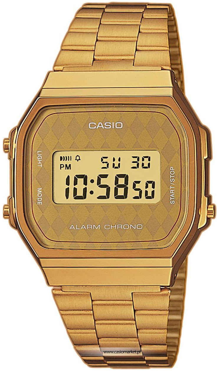 Casio Collection A-168WG-9B / A-168WG-9BER - мужские наручные часыCasio<br><br><br>Бренд: Casio<br>Модель: Casio A-168WG-9B<br>Артикул: A-168WG-9B<br>Вариант артикула: A-168WG-9BER<br>Коллекция: Collection<br>Подколлекция: None<br>Страна: Япония<br>Пол: мужские<br>Тип механизма: кварцевые<br>Механизм: None<br>Количество камней: None<br>Автоподзавод: None<br>Источник энергии: от батарейки<br>Срок службы элемента питания: None<br>Дисплей: цифры<br>Цифры: None<br>Водозащита: None<br>Противоударные: None<br>Материал корпуса: пластик<br>Материал браслета: нерж. сталь, полное дополнительное покрытие<br>Материал безеля: None<br>Стекло: пластиковое<br>Антибликовое покрытие: None<br>Цвет корпуса: None<br>Цвет браслета: None<br>Цвет циферблата: None<br>Цвет безеля: None<br>Размеры: 36.3x38.6x9.6 мм<br>Диаметр: None<br>Диаметр корпуса: None<br>Толщина: None<br>Ширина ремешка: None<br>Вес: 51 г<br>Спорт-функции: секундомер<br>Подсветка: дисплея<br>Вставка: None<br>Отображение даты: вечный календарь, число, день недели<br>Хронограф: None<br>Таймер: None<br>Термометр: None<br>Хронометр: None<br>GPS: None<br>Радиосинхронизация: None<br>Барометр: None<br>Скелетон: None<br>Дополнительная информация: None<br>Дополнительные функции: будильник