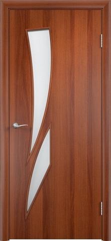 Дверь Верда C-2, цвет итальянский орех, остекленная