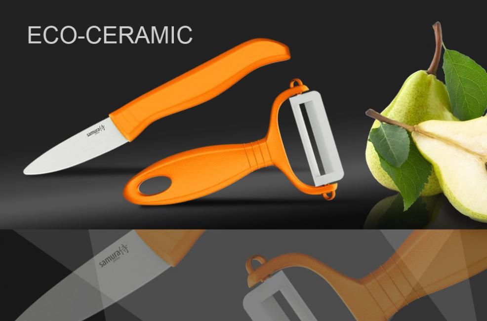 Набор керамический Фруктовый нож и овощечистка Samura Eco-Ceramic SKC-011ORНаборы керамических ножей<br>Набор керамический Фруктовый нож и овощечистка Samura Eco-Ceramic SKC-011OR<br>Набор Фруктовый нож и овощечистка Samura Eco циркониевая керамика, оранжевые рукояти.<br>Маленький керамический ножик и овощечистка с керамическим лезвием - эта парочка необходима на каждой кухне. Керамические лезвия не тупятся годами, не вступают в реакцию с продуктами, а почищенные керамикой овощи долго не темнеют.<br>В набор входят нож овощной - вес 35 г и овощечистка - вес 24 г.<br>Правила использования и уход за керамическими ножами<br><br>Перед использованием первый раз ополосните ножи горячей водой;<br>Используйте кухонные ножи только на разделочной доске из дерева или пластика;<br>Керамические ножи - идеальный инструмент для работы с овощами, фруктами, хлебом, грибами, мясом и рыбным филе, мясными деликатесами;<br>Не используйте для рубки продуктов и не режьте замороженные продукты, а также продукты с костями и твердые сорта сыра;<br>Берегите ножи: при резком ударе о твердую поверхность (о кухонную плитку, мрамор и т.д.), возможно появление сколов и даже раскол ножа;<br>Мы рекомендуем мыть ножи вручную с помощью неабразивных средств и сразу вытирать насухо (использование посудомоечной машины не рекомендуется, это портит ножи);<br>Храните ножи в специальном блоке, ящике для ножей, подставке и т.д.<br><br>Правка и заточка керамических ножей<br>Для правки и заточки керамических ножей мы рекомендуем использовать специальныеточилки.<br>Официальный сертифицированный продавец Samura™<br>