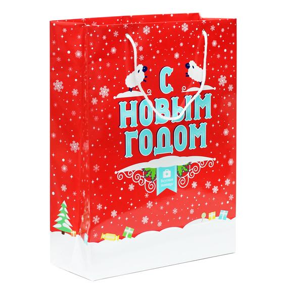 Большой подарочный пакет «С Новым годом!»Новогодние наборы<br>Вкусная помощь заботиться о Вас! Специально Вас мы создали этот бумажный новогодний пакет, покрытый глягцем. Вы никогда не перепутаете его с обычным пакетом, потому что на нашем так и написано: С Новым годом! Теперь упаковать новогодний подарок проще простого. Пакет такой большой и классный, что в него даже может поместиться большой подарочный набор из 9 мини-доз с Новым годом!А знаете сколько банок Вкусной помощи туда поместиться? Много! Выбирайте любую сладость, складывайте в красный пакет с Новым годом, и вперед радовать своих родных и близких. И помните! Мы можем сделать праздником каждый Ваш день!<br>Размер (ДхШхВ): 30 см х 12 см х 40 см.<br>Производитель:Россия<br>