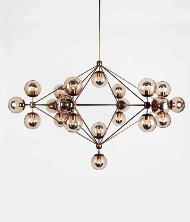 roll and hill modo chandelier 6 sided 21 globes. Black Bedroom Furniture Sets. Home Design Ideas