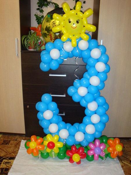 Цифра 5 из шаров своими руками без каркаса