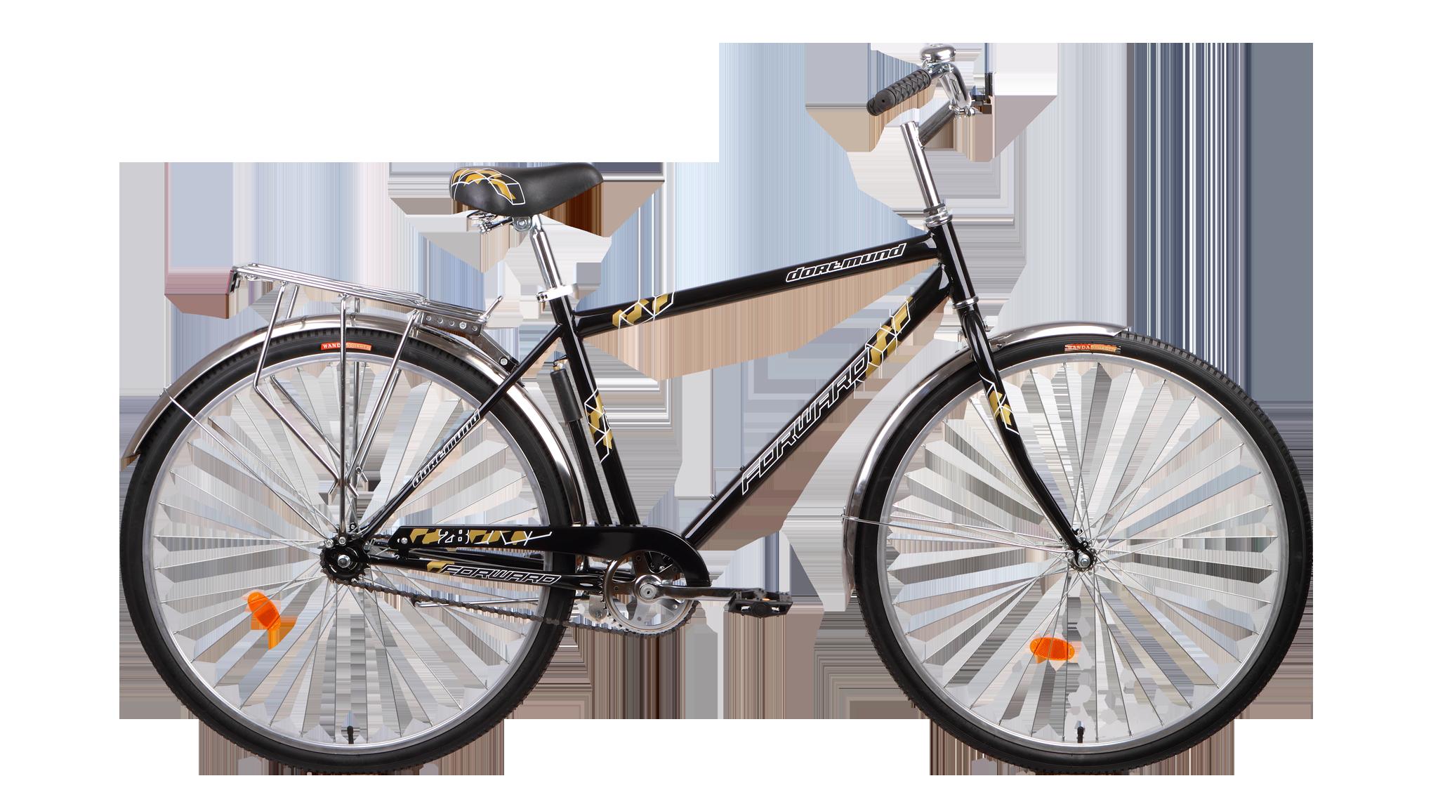 Forward Dortmund 1.0 (2015)Городские<br>Городской велосипед FORWARD DORTMUND 1.0 (2015) оборудован колёсами диаметром 28 дюймов, что даёт большой запас скорости при катании и обеспечит хорошую проходимость и комфорт. Прочные металлические крылья защитят вас от воды и грязи в плохую погоду. Установленный сзади багажник поможет перевезти небольшой груз.<br>Велосипед комплектуется небольшим насосом, с помощью которого можно подкачать колеса. Несмотря на отсутствие подвески, велосипед будет достаточно комфортен при катании по лесным тропинкам и паркам.<br>