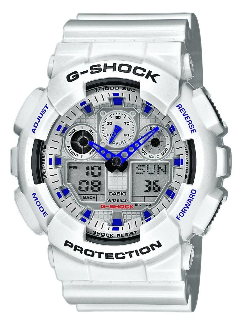 Casio G-SHOCK GA-100A-7A / GA-100A-7AER - мужские наручные часыCasio<br><br><br>Бренд: Casio<br>Модель: Casio GA-100A-7A<br>Артикул: GA-100A-7A<br>Вариант артикула: GA-100A-7AER<br>Коллекция: G-SHOCK<br>Подколлекция: None<br>Страна: Япония<br>Пол: мужские<br>Тип механизма: кварцевые<br>Механизм: None<br>Количество камней: None<br>Автоподзавод: None<br>Источник энергии: от батарейки<br>Срок службы элемента питания: None<br>Дисплей: стрелки + цифры<br>Цифры: отсутствуют<br>Водозащита: WR 200<br>Противоударные: есть<br>Материал корпуса: пластик<br>Материал браслета: каучук<br>Материал безеля: None<br>Стекло: минеральное<br>Антибликовое покрытие: None<br>Цвет корпуса: None<br>Цвет браслета: None<br>Цвет циферблата: None<br>Цвет безеля: None<br>Размеры: 51.2x55x16.9 мм<br>Диаметр: None<br>Диаметр корпуса: None<br>Толщина: None<br>Ширина ремешка: None<br>Вес: None<br>Спорт-функции: секундомер, таймер обратного отсчета<br>Подсветка: дисплея, стрелок<br>Вставка: None<br>Отображение даты: число<br>Хронограф: None<br>Таймер: None<br>Термометр: None<br>Хронометр: None<br>GPS: None<br>Радиосинхронизация: None<br>Барометр: None<br>Скелетон: None<br>Дополнительная информация: повтор сигнала будильника<br>Дополнительные функции: второй часовой пояс, будильник (количество установок: 5)