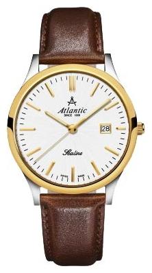 Atlantic 62341.43.21 - мужские наручные часы из коллекции SealineAtlantic<br><br><br>Бренд: Atlantic<br>Модель: Atlantic 62341.43.21<br>Артикул: 62341.43.21<br>Вариант артикула: None<br>Коллекция: Sealine<br>Подколлекция: None<br>Страна: Швейцария<br>Пол: мужские<br>Тип механизма: кварцевые<br>Механизм: None<br>Количество камней: None<br>Автоподзавод: None<br>Источник энергии: от батарейки<br>Срок службы элемента питания: None<br>Дисплей: стрелки<br>Цифры: отсутствуют<br>Водозащита: WR 30<br>Противоударные: None<br>Материал корпуса: нерж. сталь, PVD покрытие: позолота (частичное)<br>Материал браслета: кожа (не указан)<br>Материал безеля: None<br>Стекло: сапфировое<br>Антибликовое покрытие: None<br>Цвет корпуса: None<br>Цвет браслета: None<br>Цвет циферблата: None<br>Цвет безеля: None<br>Размеры: 40 мм<br>Диаметр: None<br>Диаметр корпуса: None<br>Толщина: None<br>Ширина ремешка: None<br>Вес: None<br>Спорт-функции: None<br>Подсветка: стрелок<br>Вставка: None<br>Отображение даты: число<br>Хронограф: None<br>Таймер: None<br>Термометр: None<br>Хронометр: None<br>GPS: None<br>Радиосинхронизация: None<br>Барометр: None<br>Скелетон: None<br>Дополнительная информация: None<br>Дополнительные функции: None