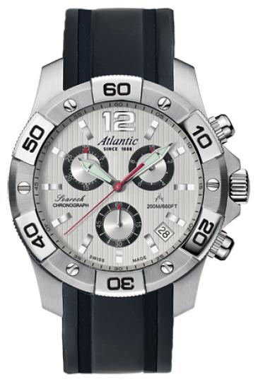Atlantic 87471.41.25B - мужские наручные часы из коллекции SearockAtlantic<br><br><br>Бренд: Atlantic<br>Модель: Atlantic 87471.41.25B<br>Артикул: 87471.41.25B<br>Вариант артикула: None<br>Коллекция: Searock<br>Подколлекция: None<br>Страна: Швейцария<br>Пол: мужские<br>Тип механизма: кварцевые<br>Механизм: ETA G10.211<br>Количество камней: None<br>Автоподзавод: None<br>Источник энергии: от батарейки<br>Срок службы элемента питания: None<br>Дисплей: стрелки<br>Цифры: арабские<br>Водозащита: WR 200<br>Противоударные: None<br>Материал корпуса: нерж. сталь<br>Материал браслета: полиуретан<br>Материал безеля: None<br>Стекло: сапфировое<br>Антибликовое покрытие: None<br>Цвет корпуса: None<br>Цвет браслета: None<br>Цвет циферблата: None<br>Цвет безеля: None<br>Размеры: 45 мм<br>Диаметр: None<br>Диаметр корпуса: None<br>Толщина: None<br>Ширина ремешка: None<br>Вес: None<br>Спорт-функции: секундомер<br>Подсветка: стрелок<br>Вставка: None<br>Отображение даты: число<br>Хронограф: есть<br>Таймер: None<br>Термометр: None<br>Хронометр: None<br>GPS: None<br>Радиосинхронизация: None<br>Барометр: None<br>Скелетон: None<br>Дополнительная информация: None<br>Дополнительные функции: None