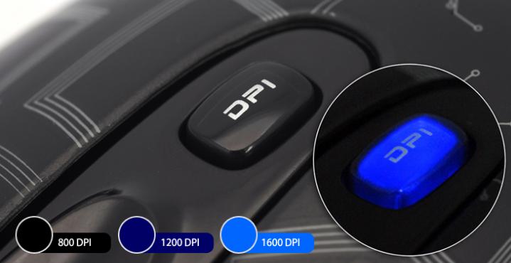 Кнопка быстрого переключения dpi от 800 до 1600
