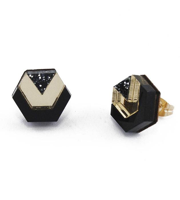 серьги золотисто-чёрного цвета Little Hex Studs Gold&Black Glitter от английского бренда Wolf&Moon