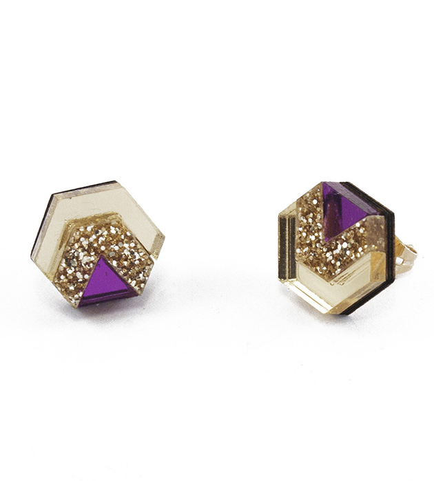 блестящие серьги золотисто-фиолетового цвета Little Hex Purple&Gold Glitter из дерева и плексигласа от Wolf&Moon