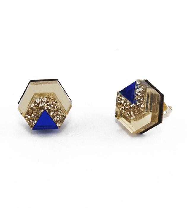 золотисто-синие серьги Little Hex Gold&DarkBlue из дерева и плексигласа от Wolf&Moon