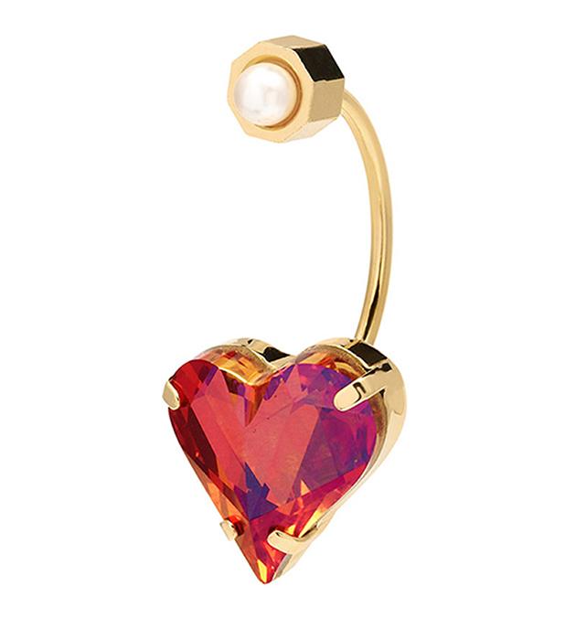 золотисто-красная моносерьга Heart с кристаллом и жемчугом от Maria Francesca Pepe