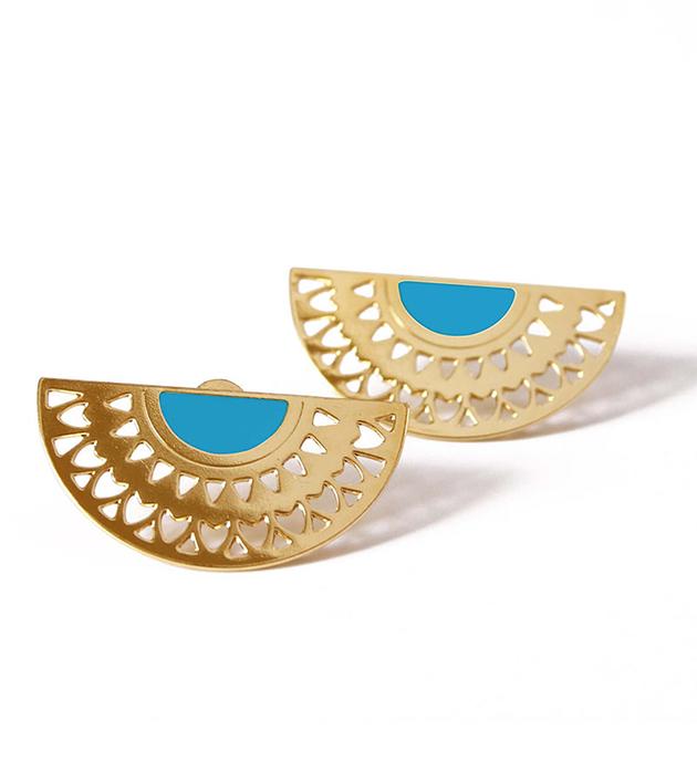купите стильные серьги от французского бренда Chic Alors Paris - Boucles Fleur Turquoise