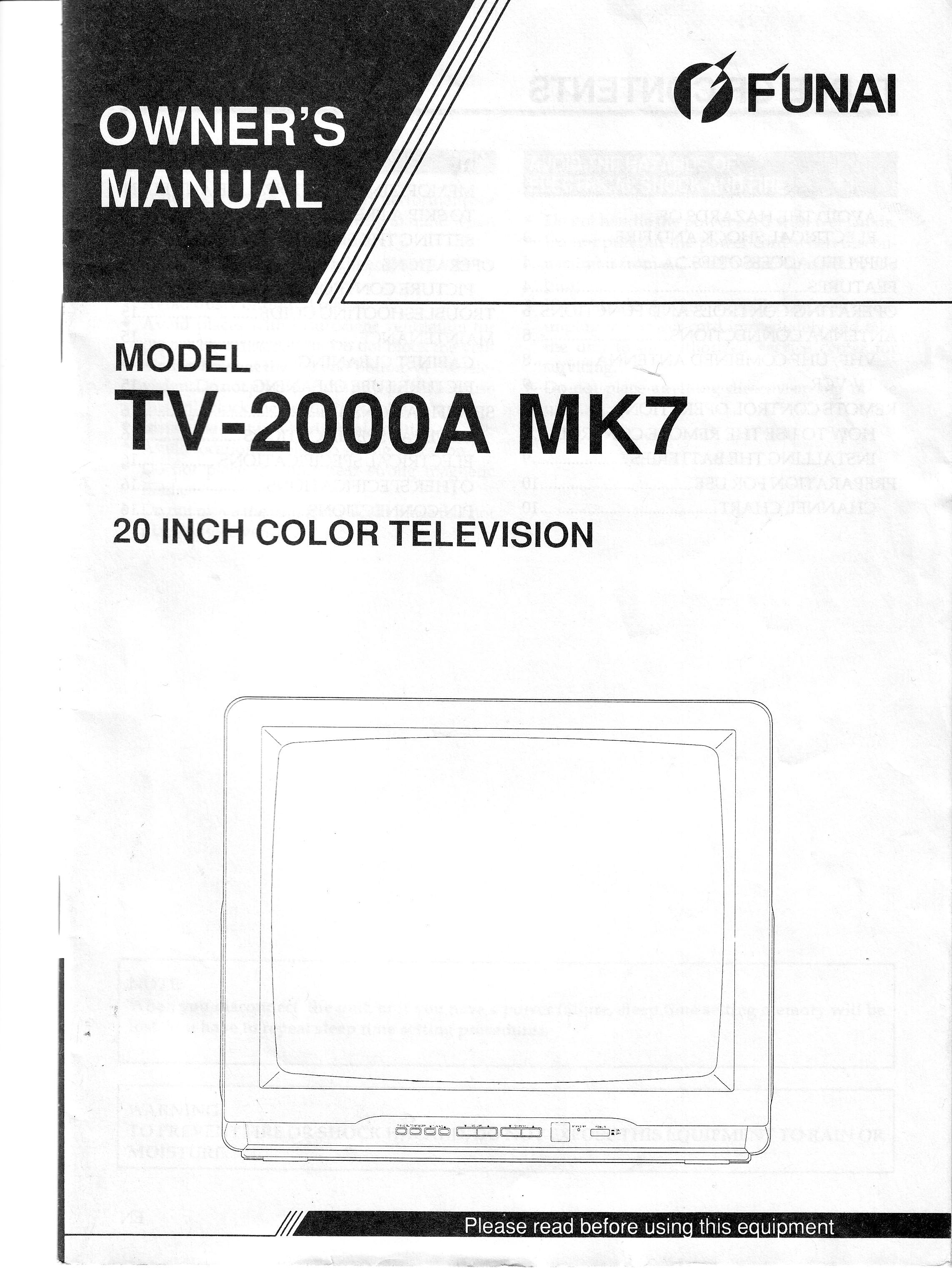 Funai tv 2000a mk7 инструкция