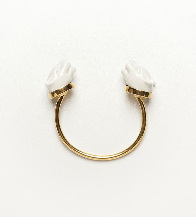 элегантное украшение белоснежно-золотистого цвета от ANDRES GALLARDO - Panther Head