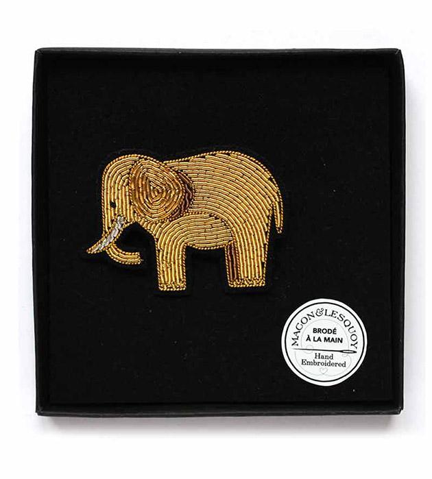 эффектная золотая брошь ручной работы Gold Elephant от Macon&Lesquoy