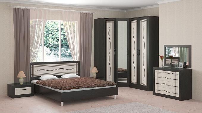 """ТОКИО Мебель для спальни (венге цаво/дуб белфорд с рисунком """"линии"""")"""