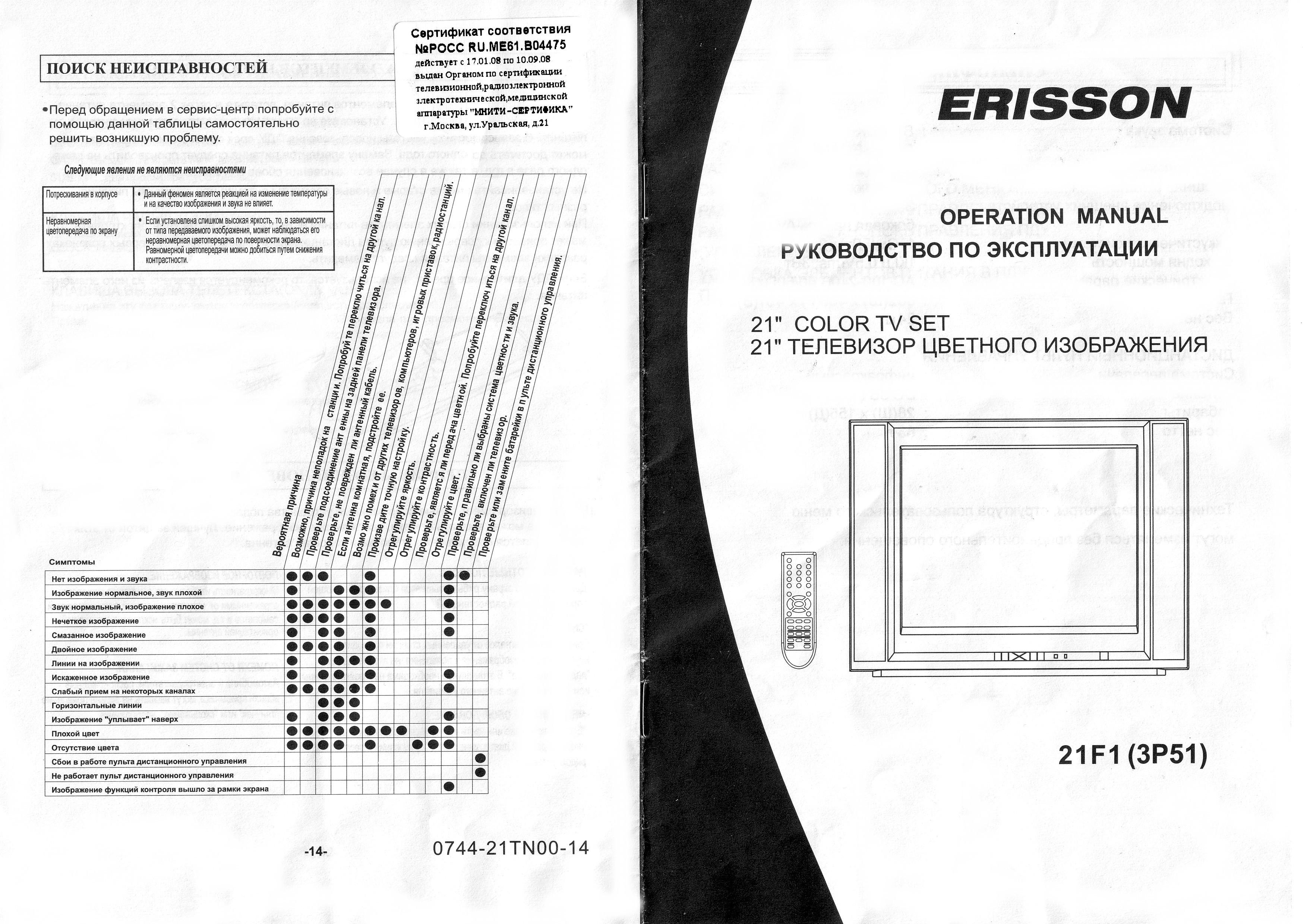 erisson 21f1(3p51) инструкция