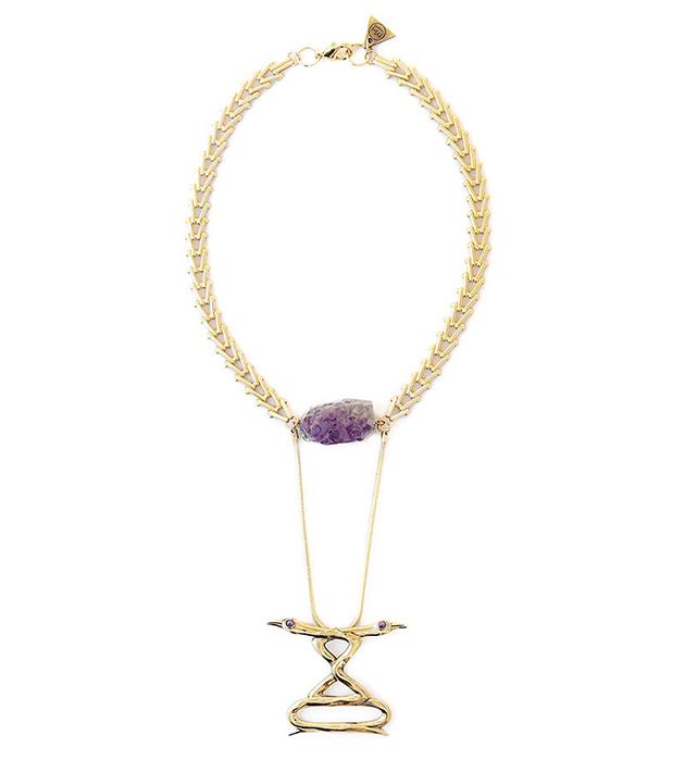 колье золотого цвета с аметистами на цепочке Ravens Love necklace от MAVA HAZE