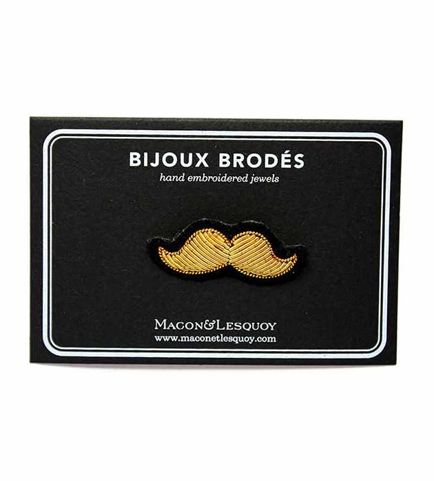 брошь-усы золотого цвета Gold Moustache Small от Macon&Lesquoy