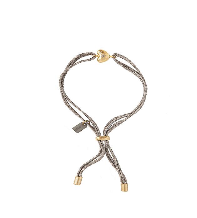 купите браслет из серых лент с цирконом от Apodemia