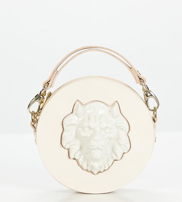 качественные аксессуары из кожи и фарфора из Испании от ANDRES GALLARDO - Round Lion Mini Bag