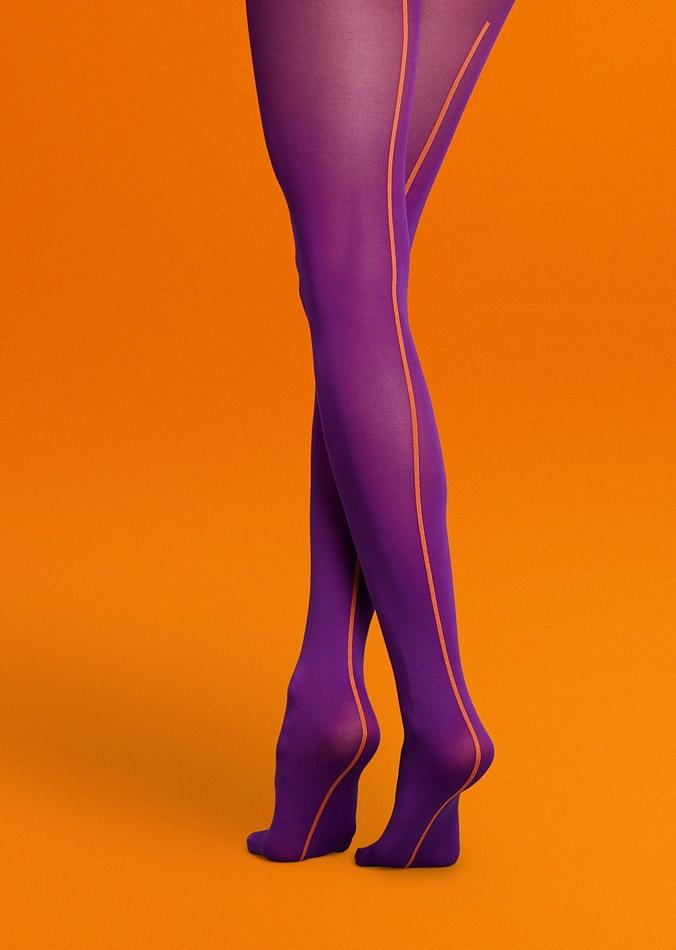 Фиолетовые яркие необычные дизайнерские фантазийные колготки с оранжевым швом