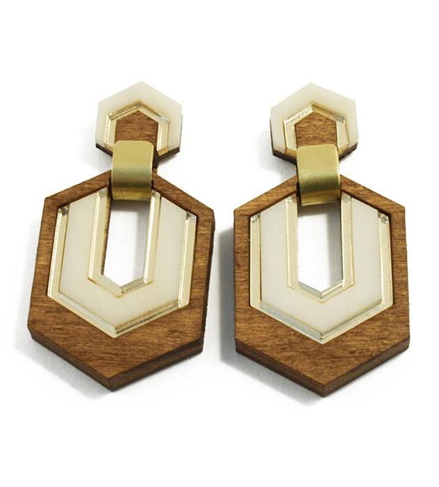 купите массивные серьги в стиле арт-деко от Wolf&Moon - Hex Earrings Wood with GoldHorn