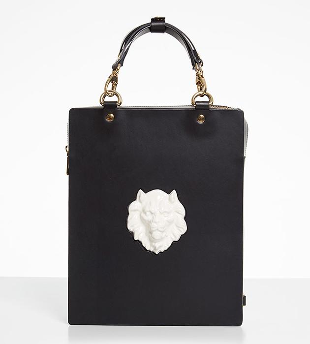 универсальная сумку-рюкзак из кожи и фарфора Bagpack Lion Bag Black от ANDRES GALLARDO
