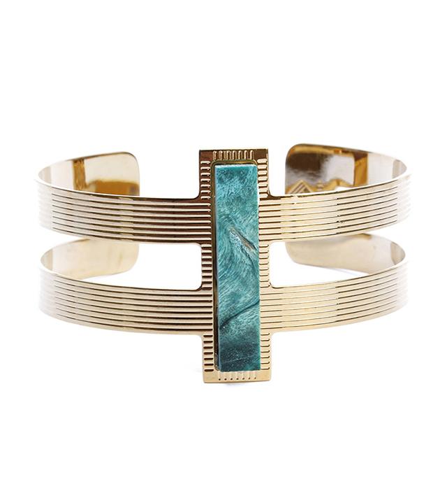 купите открытый браслет с гравировкой от французского бренда Chic Alors Paris - Manchette Byzance Bois vert