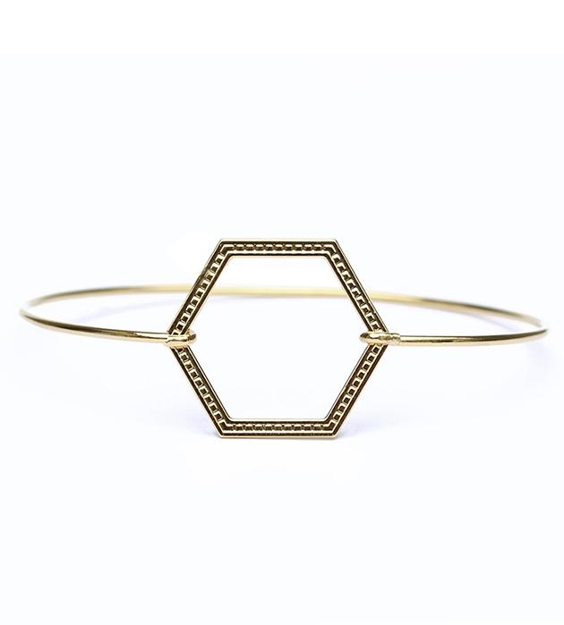 купите качественная французская бижутерия от Chic Alors Paris - Bracelet Jonc Hexagone striee