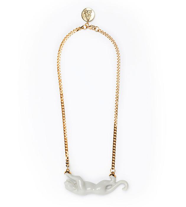 купите белоснежно-золотое украшение ручной работы от ANDRES GALLARDO - Golden Panther White