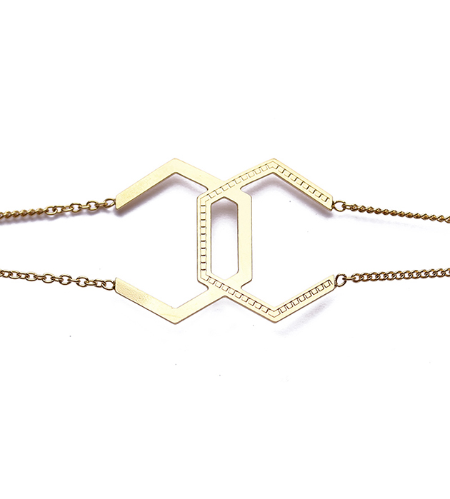 купите изящный браслет из позолоченной латуни Hexagone Double от Chic Alors Paris