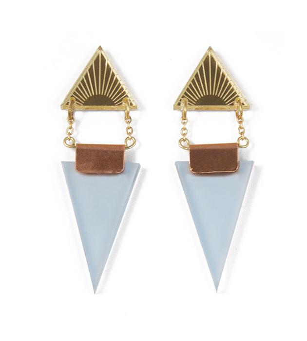 длинные треугольные серьги Double Triangle Gold&Pale Blue от английского бренда Wolf&Moon