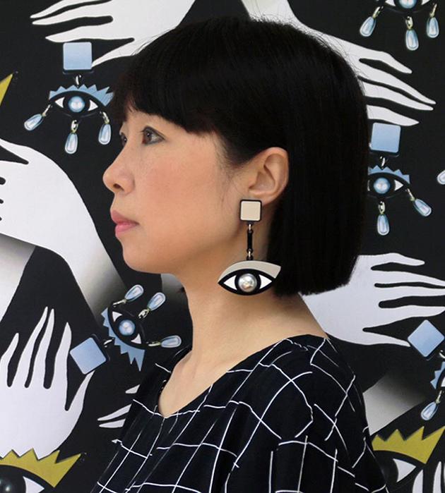массивные серьги в форме глаз от Jennifer Loiselle - In The Blink of An Eye Silver Earrings