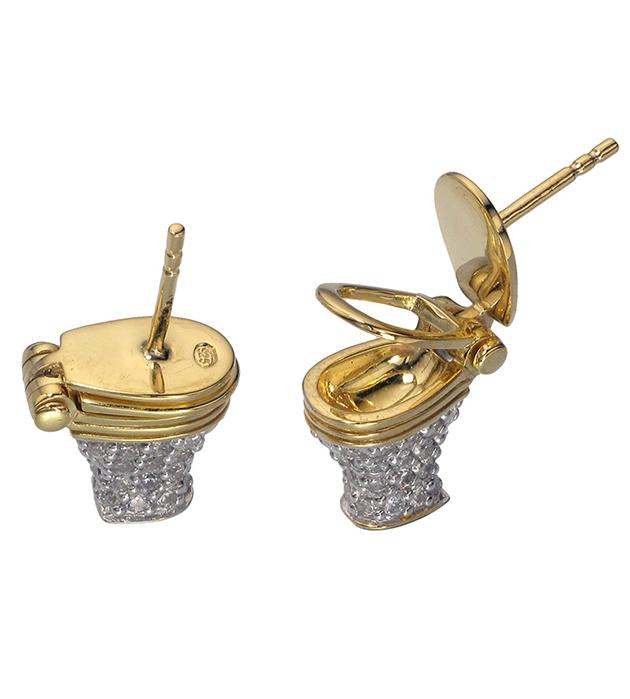 ироничные серьги с цирконами ручной работы Precious WC от Miss Bibi