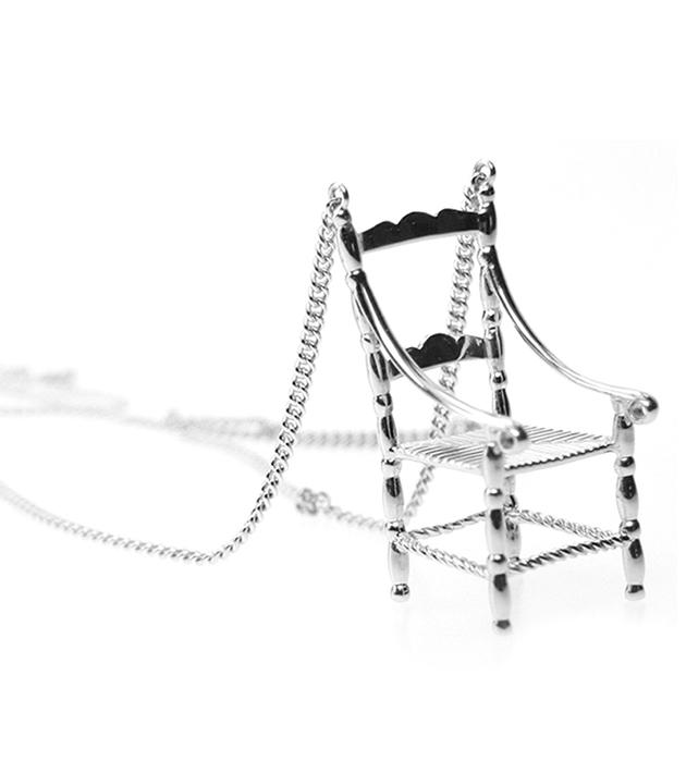 серебристая подвеска-стул ручной рабoты от Miss Bibi - Mini Chair necklace