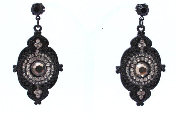 Металлические черные серьги с кристаллами купить