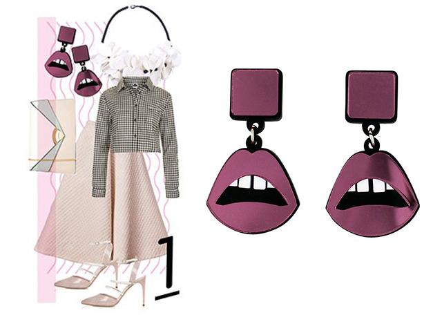 Серьги Lips Drop Pink от Jennifer Loiselle на сайте ellegirl