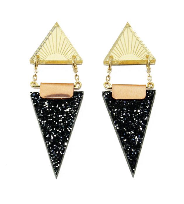 эффектгные серьги в стиле арт-деко  Double Triangle Black от Wolf&Moon