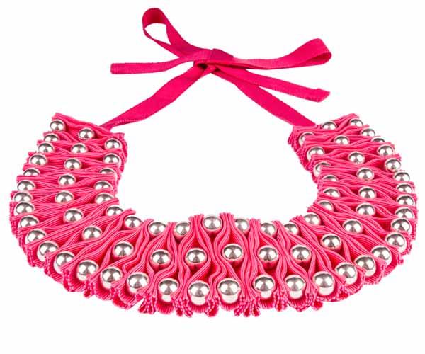 оригинальное колье ожерелье из ткани бусинами Papiroga купить фото картинки